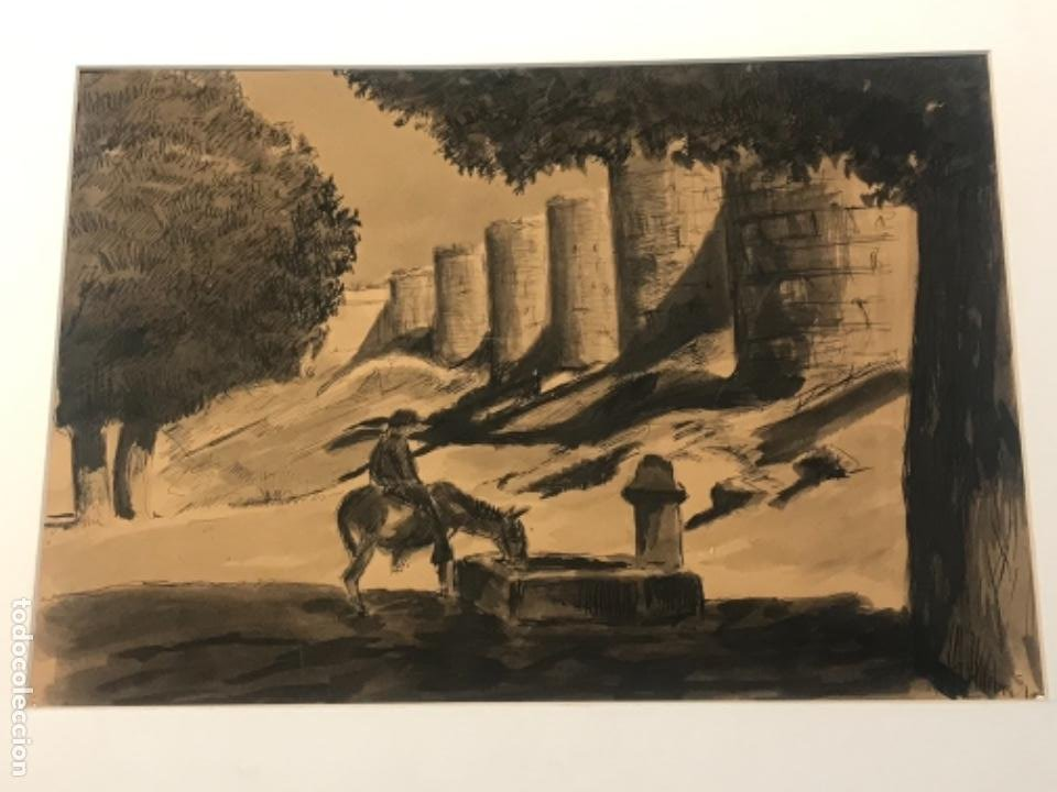 Arte: ACUARELA POSIBLEMENTE DE TOLEDO 1950'S. DESCONOCEMOS AUTOR. - Foto 4 - 262276380