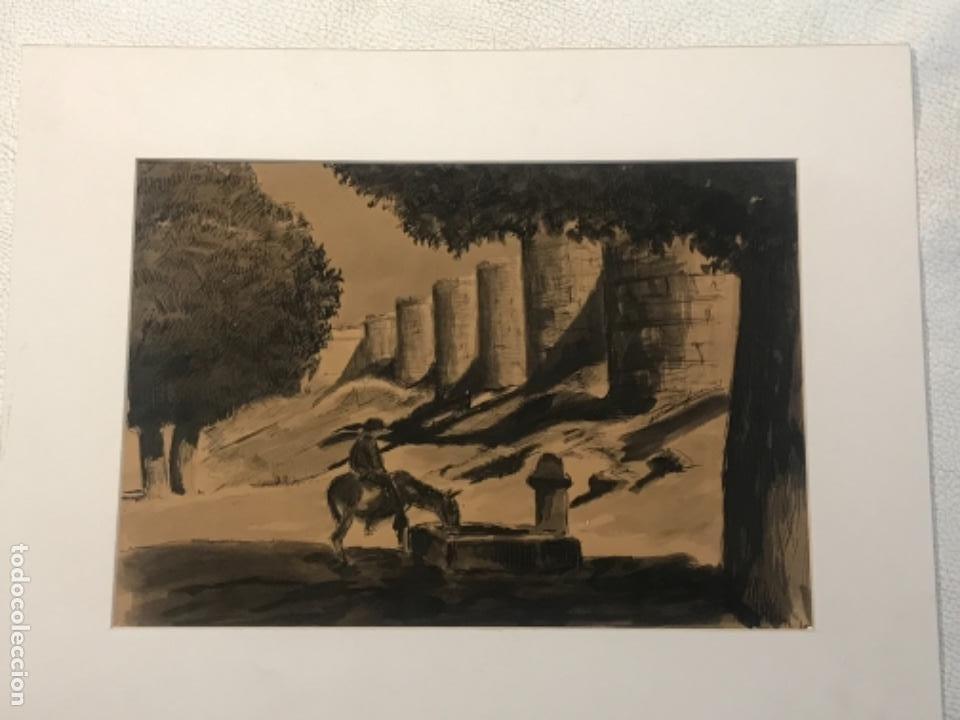 Arte: ACUARELA POSIBLEMENTE DE TOLEDO 1950'S. DESCONOCEMOS AUTOR. - Foto 5 - 262276380