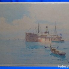 Arte: ACUARELA DE FRANCISCO HERNÁNDEZ MONJO ( MENORCA 1862-1937). PEGADA A CARTÓN, SELLO DE BUENOS AIRES.. Lote 262322520