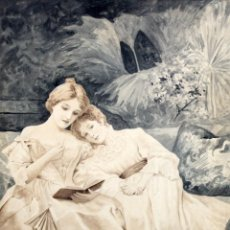 Arte: JUAN MOLINAS FRAU (LA HABANA, CUBA, 1874 - BARCELONA, 1949) ACUARELA SOBRE PAPEL. MATERNIDAD. Lote 262346910