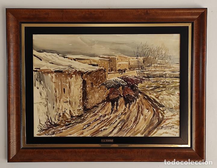 JOSEP TRAITÉ COMPTE (OLOT 1935) - ACUARELA - PAISAJE - AÑO 1988 (Arte - Acuarelas - Contemporáneas siglo XX)