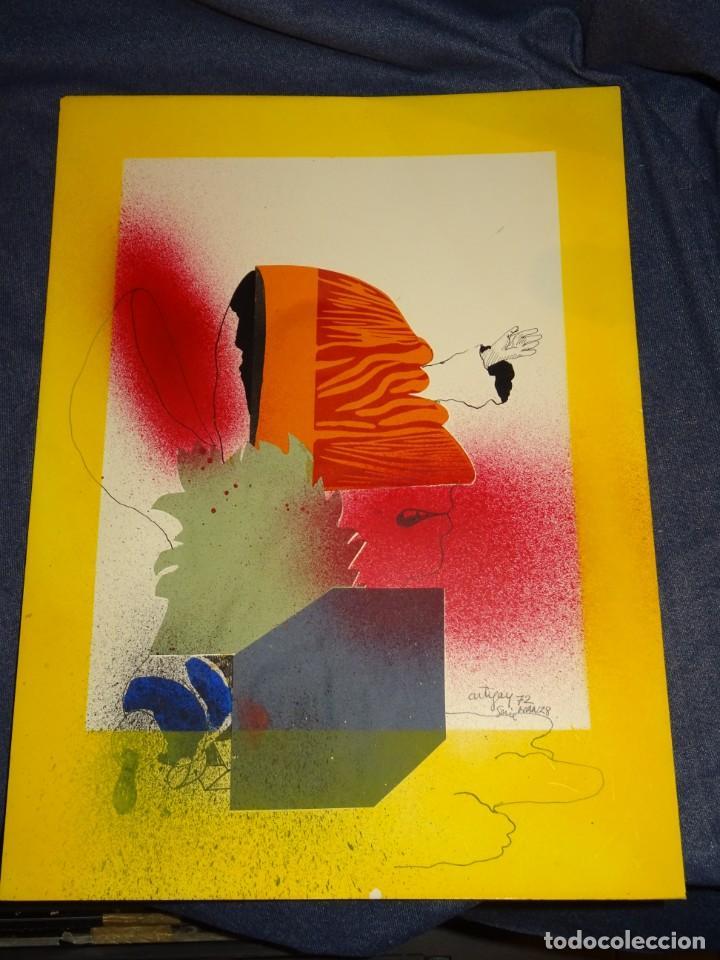 Arte: (M) FRANCESC ARTIGAU 1972 SERIE MAN28 - DIBUJO ORIGINAL ABSTRACTO, 32,5X44CM, TÉCNICA MIXTA - Foto 2 - 262876285