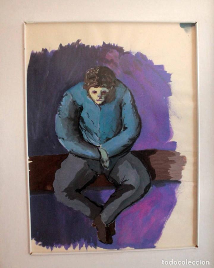 Arte: Ivan Capdevila. Acuarela con cristal. Hombre sentado. Enmarcado 70x59cm - Foto 2 - 262925750