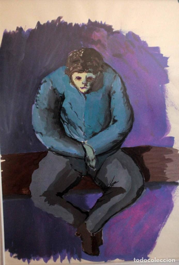 Arte: Ivan Capdevila. Acuarela con cristal. Hombre sentado. Enmarcado 70x59cm - Foto 3 - 262925750