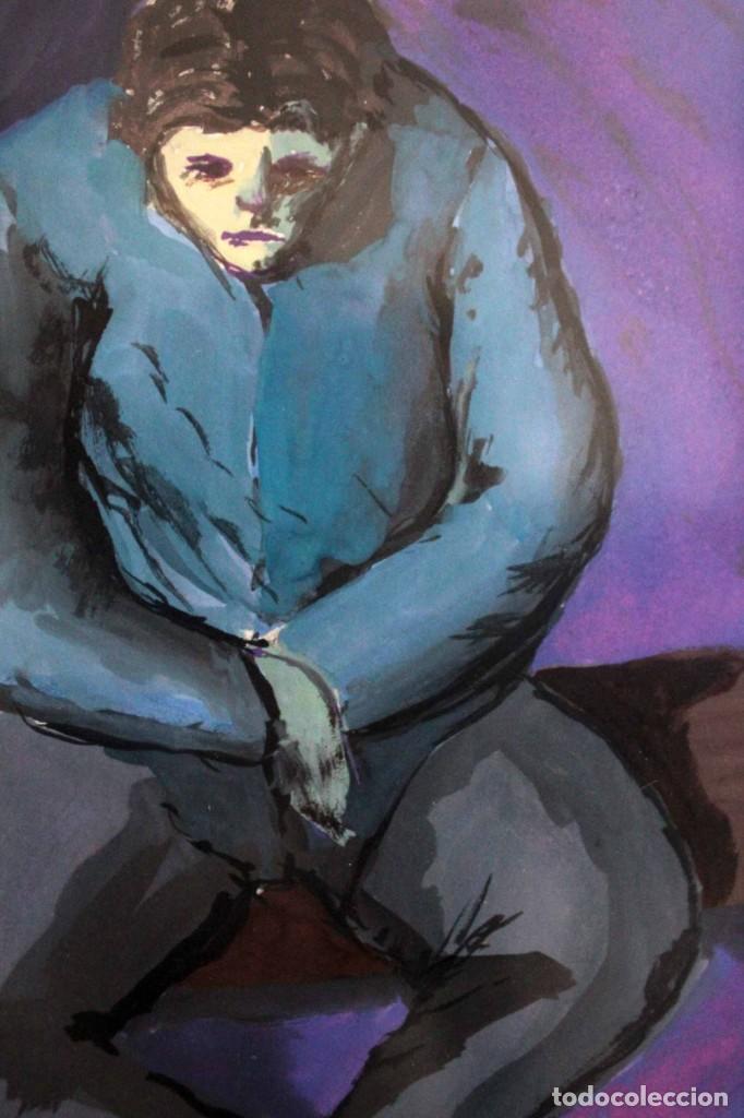 Arte: Ivan Capdevila. Acuarela con cristal. Hombre sentado. Enmarcado 70x59cm - Foto 4 - 262925750