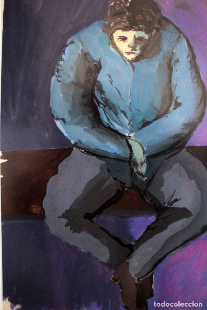 Arte: Ivan Capdevila. Acuarela con cristal. Hombre sentado. Enmarcado 70x59cm - Foto 5 - 262925750