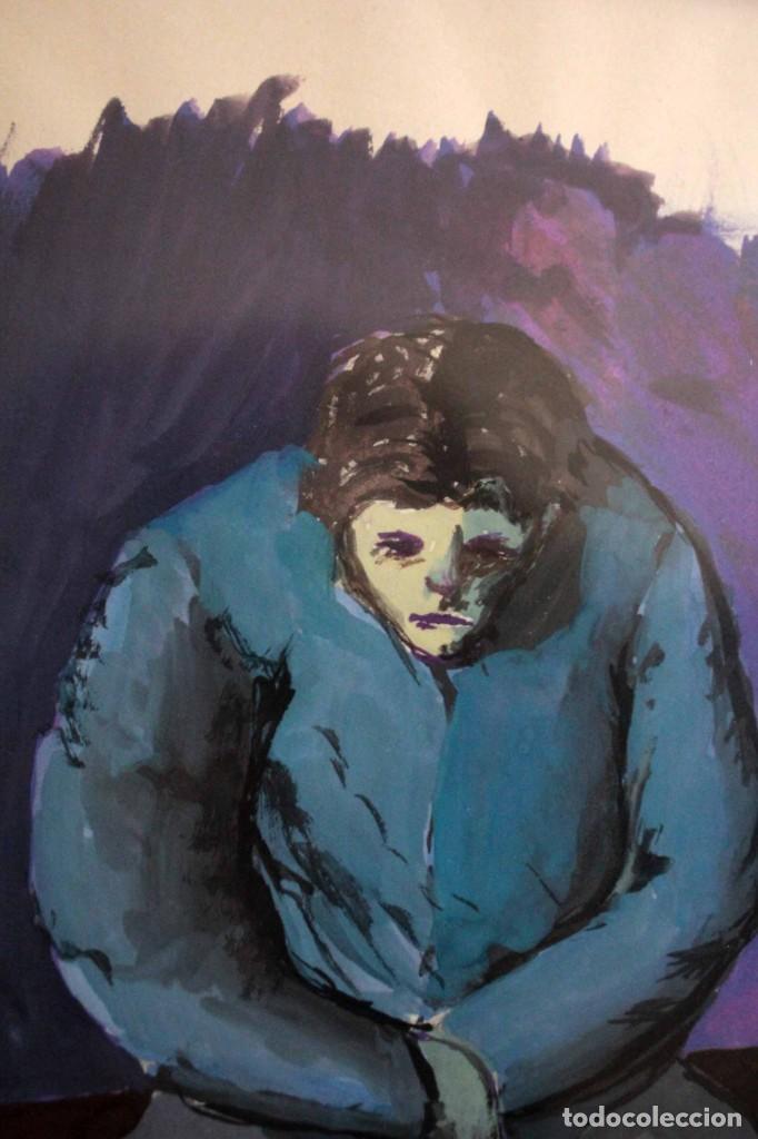 Arte: Ivan Capdevila. Acuarela con cristal. Hombre sentado. Enmarcado 70x59cm - Foto 6 - 262925750