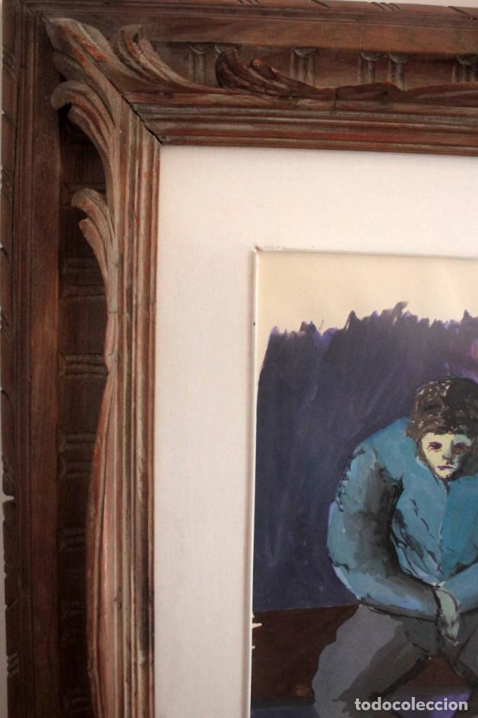 Arte: Ivan Capdevila. Acuarela con cristal. Hombre sentado. Enmarcado 70x59cm - Foto 7 - 262925750