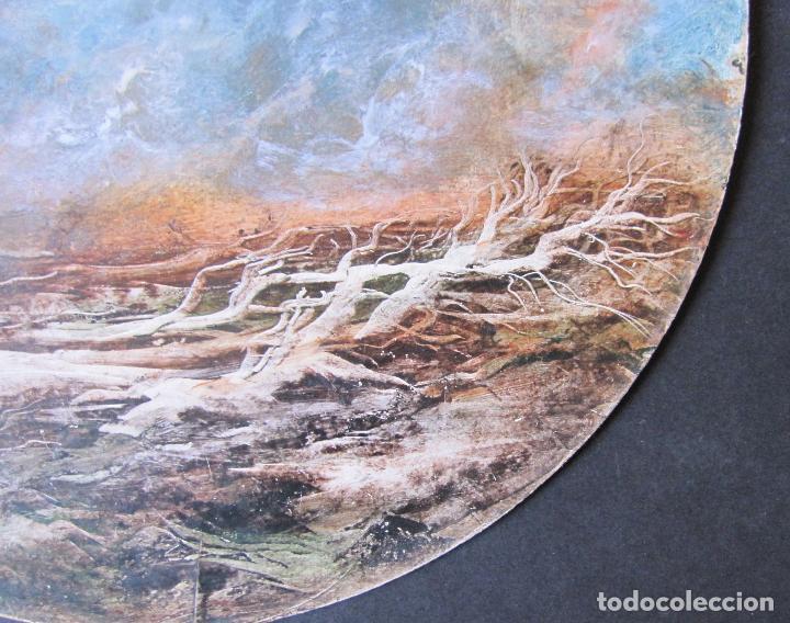Arte: ARBOLES CAIDOS. TÉCNICA MIXTA SOBRE CARTÓN. TONDO. ATRIBUIDO A O. PASCAL. HACIA 1990. DIÁM. 30 CM - Foto 3 - 263026375