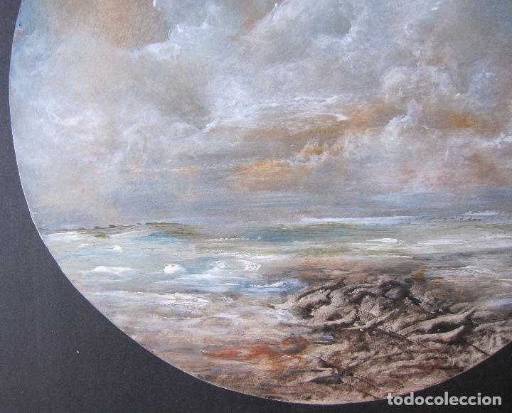 Arte: EL MAR. TÉCNICA MIXTA SOBRE CARTÓN. TONDO. FIRMADO O. PASCAL. FECHADO 1989. DIÁM. 28,5 CM - Foto 2 - 263026680
