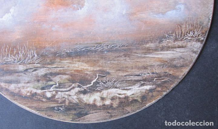 Arte: MARISMAS. TÉCNICA MIXTA SOBRE CARTÓN. TONDO. FIRMADO O. PASCAL. FECHADO 1989. DIÁM. 23,5 CM - Foto 3 - 263027095