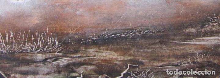 Arte: MARISMAS. TÉCNICA MIXTA SOBRE CARTÓN. TONDO. FIRMADO O. PASCAL. FECHADO 1989. DIÁM. 23,5 CM - Foto 4 - 263027095