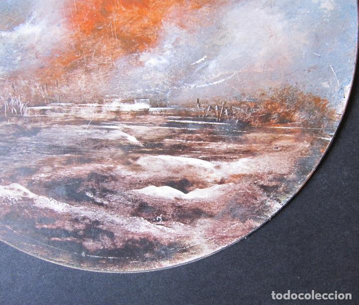 Arte: MARISMAS. TÉCNICA MIXTA SOBRE CARTÓN. TONDO. FIRMADO O. PASCAL. FECHADO 1990. DIÁM. 25 CM - Foto 2 - 263027760
