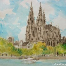 Arte: ESCUELA FRANCESA, ACUARELA 25 X 23 CM. CATEDRAL DE NOTRE DAME, PARÍS.. Lote 263129335