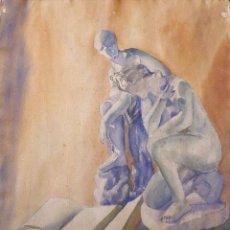 Arte: BAULENAS. ESCUELA CATALANA. ACADEMIA MUJER Y HOMBRE. FIRMADA A MANO. 65X50 CM. INICIOS SIGLO XX.. Lote 263182225