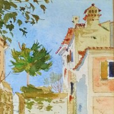 Arte: CALLE DE LA CIUDAD DE LOVRANA. FIRMADO GEORG BERGER. ACUARELA. CROACIA. 1895. Lote 263293070