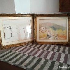 Arte: SIN FIRMA - PAISAJES DE PUEBLOS DE ESPAÑA - PAREJA DE ACUARELAS. Lote 263773560