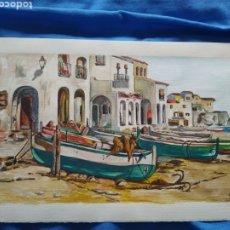 Arte: CALELLA DE PALAFRUGELL-ACUARELA EN PAPEL LITOGRAFICO DE AUTOR CON FIRMA CODINA-1989.. Lote 263953555