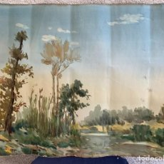 Art: ACUARELA VISTA DE ARBOLES Y RIO FIRMA J. CUSINE 1951 48X58CMS. Lote 264191256
