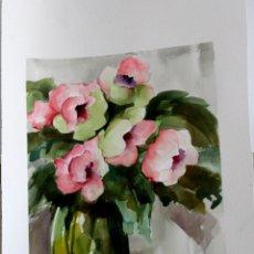 Arte: FLORES CON JARRON OBRA DE ISABEL LUESMA. Lote 264427224