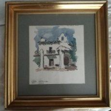 Art: BONITA ACUARELA ENMARCADA ERMITA SANT ROC DE CANET - DE VIDAL SERRULLA 1974. Lote 264550849
