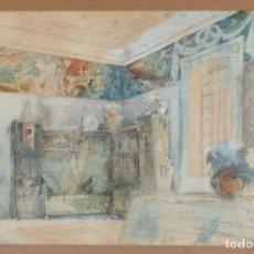 Art: OLEGUER JUNYENT I SANS (BARCELONA, 1876 - 1956) ACUARELA Y GOUACHE SOBRE PAPEL ESTANCIA FIRMADO. Lote 264554739