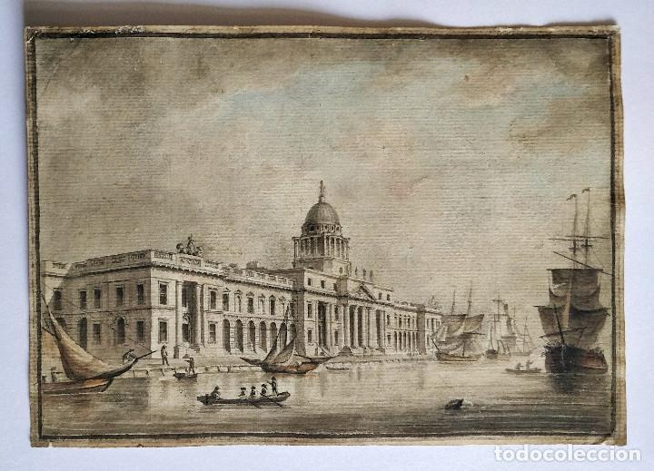 EXCELENTE ACUARELA ORIGINAL ESCUELA VENECIANA SIGLO XVIII, FRANCESCO GUARDI (1712-1793) GRAN CALIDAD (Arte - Acuarelas - Antiguas hasta el siglo XVIII)