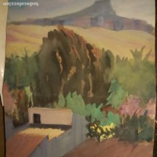 Arte: ANTIGUA ACUARELA PINTURA A DOBLE CARA CASERIO CON CABRAS Y PAISAJE PROCEDE DE ALICANTE. Lote 264997979