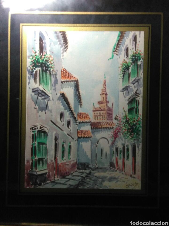 Arte: Preciosa acurela sobre papel ,calles de sevilla ,firmada angulo inferior derecho - Foto 2 - 265360349