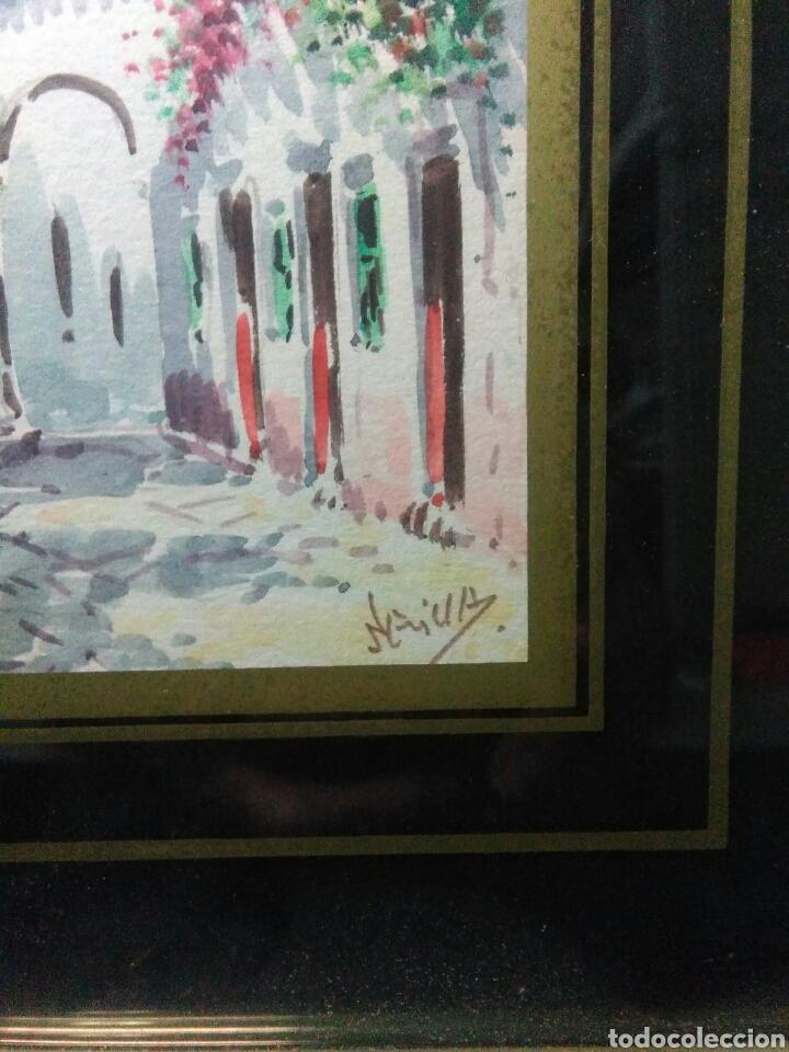 Arte: Preciosa acurela sobre papel ,calles de sevilla ,firmada angulo inferior derecho - Foto 3 - 265360349
