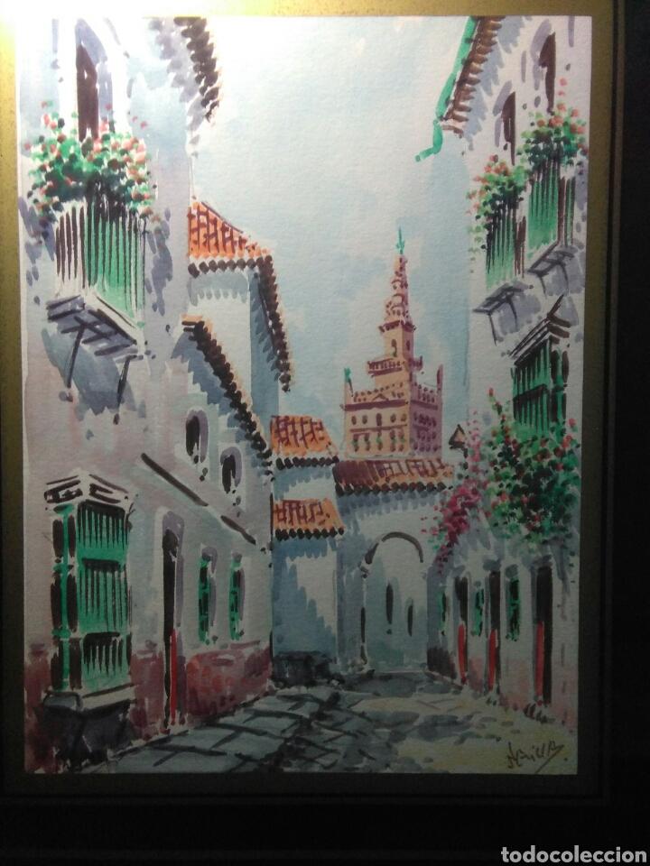 Arte: Preciosa acurela sobre papel ,calles de sevilla ,firmada angulo inferior derecho - Foto 4 - 265360349