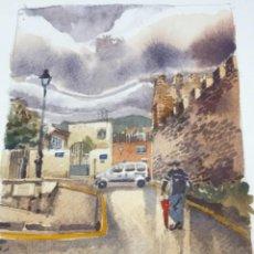 Arte: ACUARELA DE MARCEL RUBIO, MONTBLANC TARRAGONA 2013.. Lote 265814704