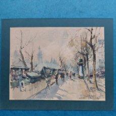 """Arte: """"LOS BUQUINISTA EN PARIS"""" ACUARELA. Lote 266644438"""