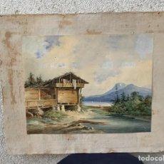 Art: ACUARELA FRANCIA ALPES SUIZA MONTAÑA PAISAJE LAGO BARCOS CASA RIO S XIX 1846 45X53CMS. Lote 267239539
