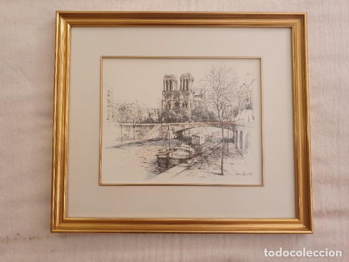 2 BONITAS PINTURAS A PLUMILLA DE PARIS COLOREADAS CON ACUARELA. DE BOKO (Arte - Acuarelas - Contemporáneas siglo XX)
