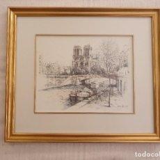 Art: 2 BONITAS PINTURAS A PLUMILLA DE PARIS COLOREADAS CON ACUARELA. DE BOKO. Lote 267447364