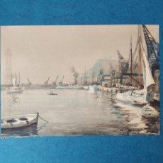 """Arte: FREDERIC LLOVERAS"""" EL PUERTO DE BARCELONA """"1949. Lote 267448104"""