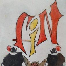 Arte: SERAFIN ROJO CAAMAÑO. ACUARELA Y TINTA SOBRE PAPEL. FIRMADO Y ENMARCADO. Lote 267471269