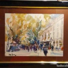 Arte: LAS RAMBLAS DE BARCELONA Y EL LICEO VISTOS POR EL PINTOR VIVES FIERRO. Lote 267771404