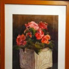 Arte: FLORES ROJAS DEL PRESTIGIOSO PINTOR GRAU SANTOS. Lote 268026829