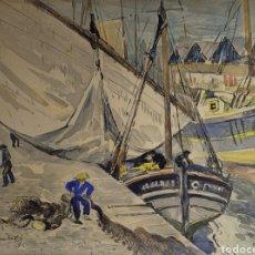 Arte: PAISAJE MARINA PORTUARIA POR OLEGUER JUNYENT SANS (1876-1956). Lote 268029939