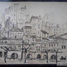 Arte: SEGUNDO HEVIA. ACUARELA Y TINTA. EL BERBÉS (VIGO) 1961. 50 X 38 CM.. Lote 268178284