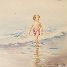 Arte: NIÑO CAMINANDO EN LA PLAYA. ACUARELA. 48.5X35CM. FIRMADO RAFAEL ESTRANY.. Lote 268251544