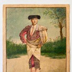 Arte: ENRIQUE ESTEVAN Y VICENTE ACUARELA DE 1885 FIRMADA Y DEDICADA A LUIS MAZZANTINI , TORERO. Lote 268267934