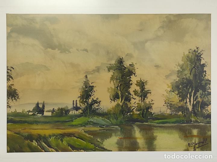 Arte: Pere Gironell Piernau (Borrassà 1904) - Acuarela - Paisaje - Foto 2 - 268417639