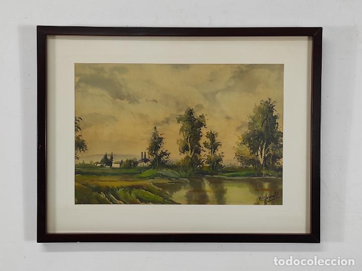 Arte: Pere Gironell Piernau (Borrassà 1904) - Acuarela - Paisaje - Foto 3 - 268417639