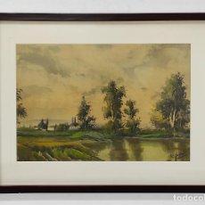 Art: PERE GIRONELL PIERNAU (BORRASSÀ 1904) - ACUARELA - PAISAJE. Lote 268417639