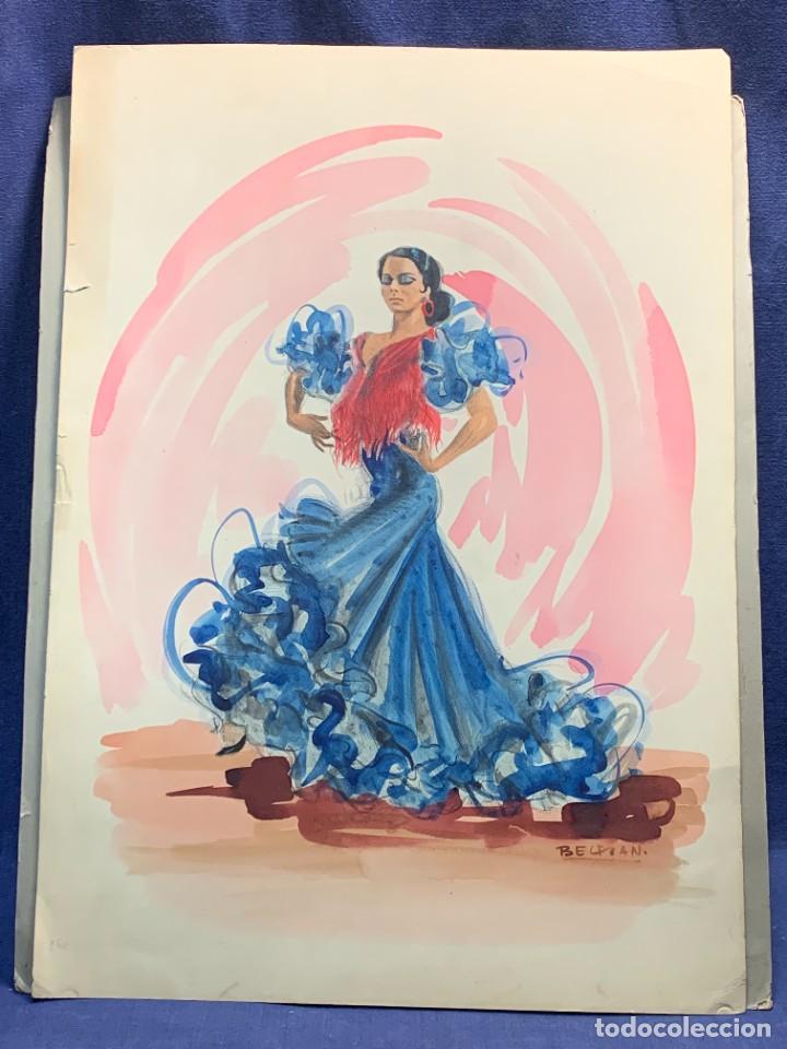 ACUARELA FIRMADA BELTRAN DIBUJANTE DIBUJO BAILAORA FLAMENCO VESTIDO LUCES MITAD S XX 50X35CMS (Arte - Acuarelas - Contemporáneas siglo XX)