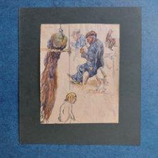 """Arte: P. NIN ARAGAY """"AVES Y PERSONAJES """"APUNTES AL NATURAL 1934. Lote 268753394"""