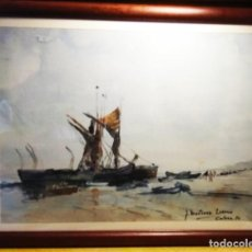 Arte: VIEJAS BARCAS EN COLERA ACUARELA DEL GRAN PINTOR MARTINEZ LOZANOL. Lote 268847444